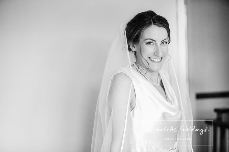 very excited bride portrait
