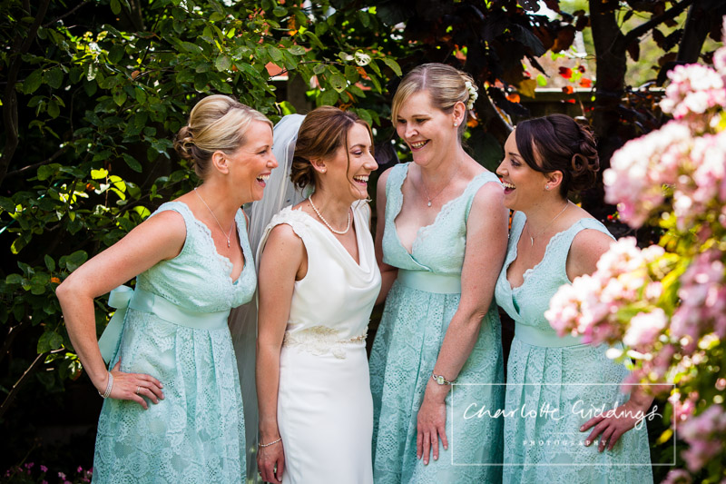 bride and bridesmaids ready for soulton hall