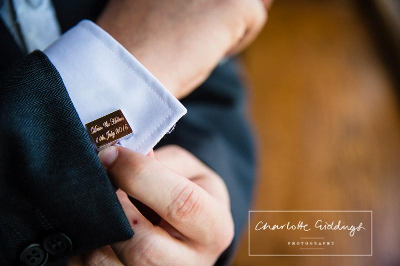 personalised cufflinks at soulton hall