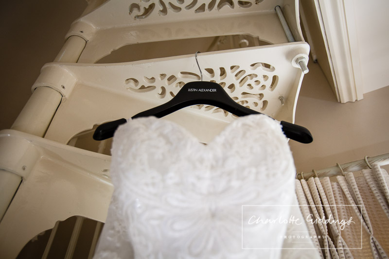 detail shot of sweetheart line lace wedding dress at willington hall