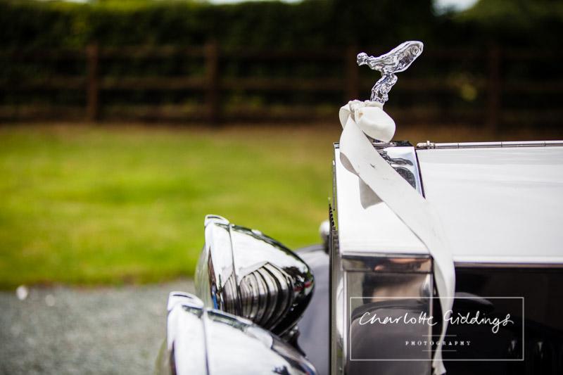 detail shot of classic wedding car parked at willington lodge shropshire