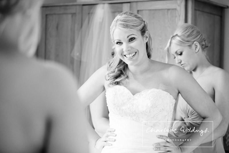 ecstatic bride in her wedding dress
