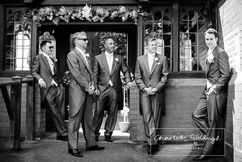 groom outside st.marys church, wistaton with groomsmen