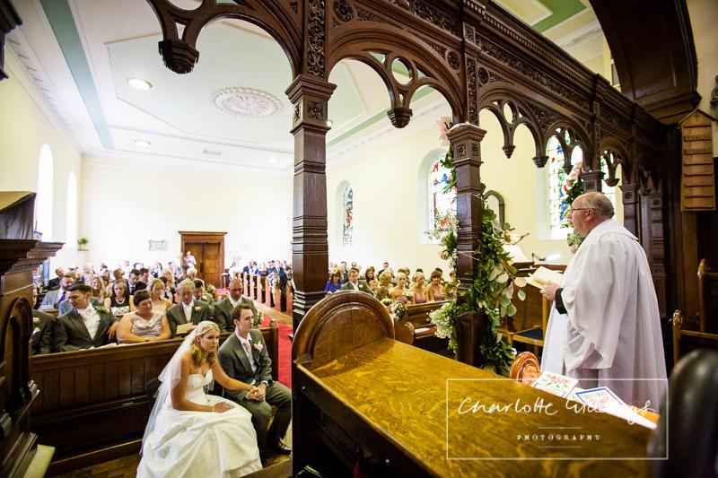 wedding ceremony in st. marys church, wistaton