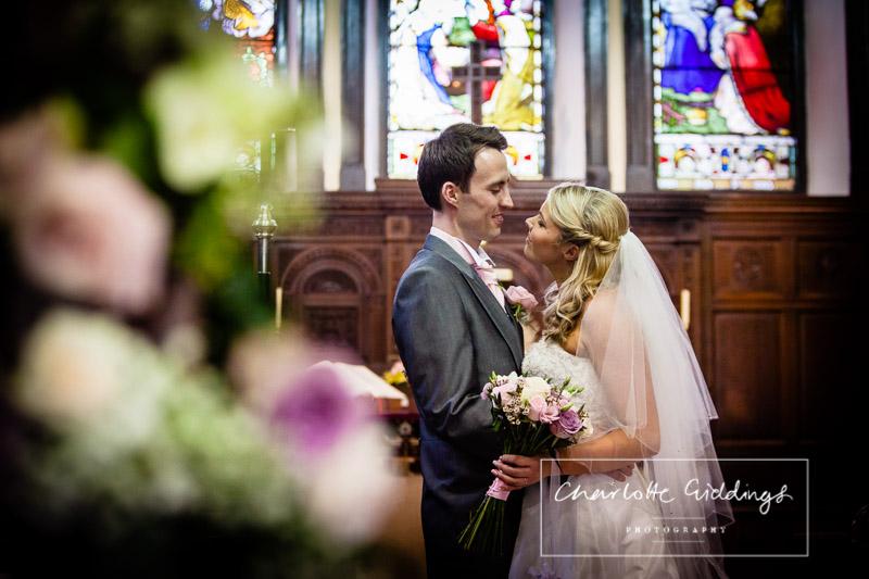 bride and groom portrait inside church