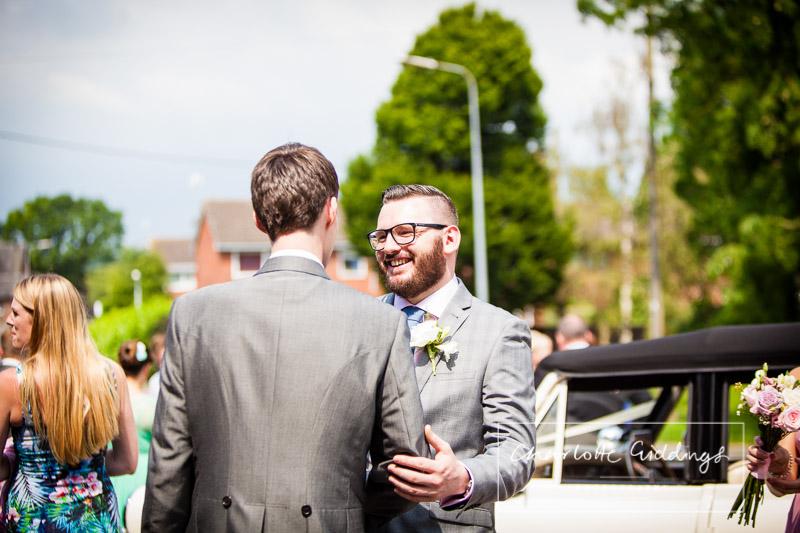 friend congratulating the groom