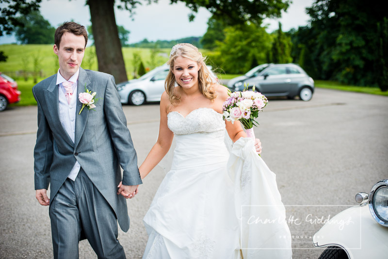 bride and groom arriving at combermere abbey