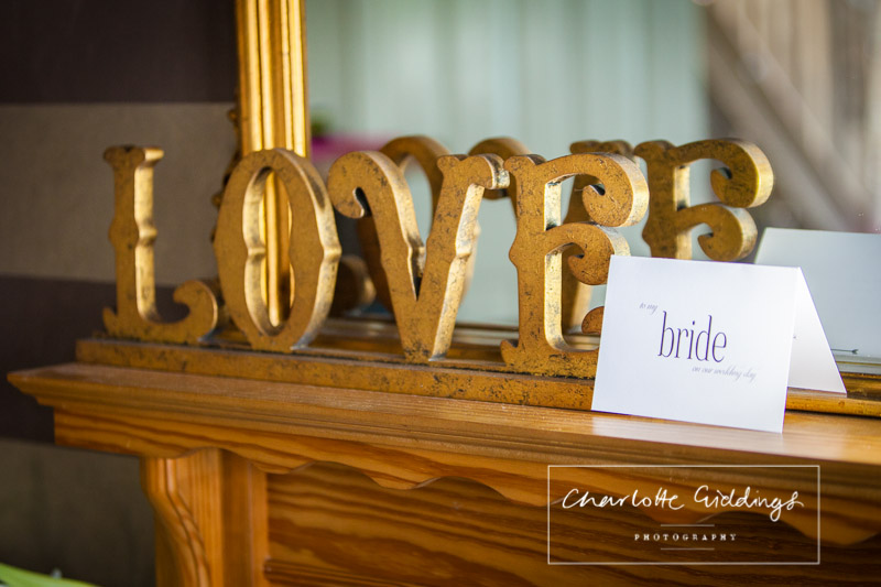 card from the groom for his bride in the morning - bridal preparations - heaton house farm wedding