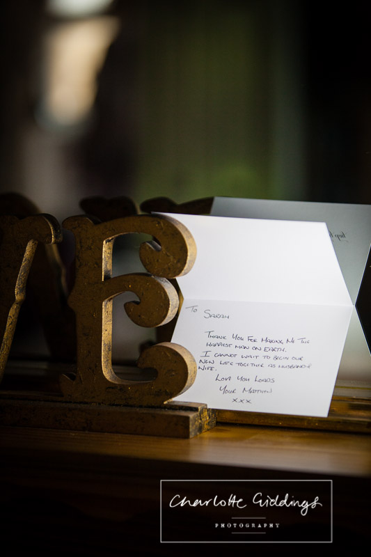 inside text from groom to his bride in a card with gift, shropshire photographer