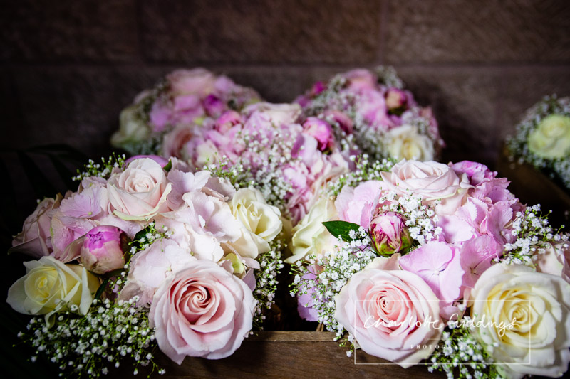 bridesmaids bouquets all together at heaton house farm wedding - natalies florist