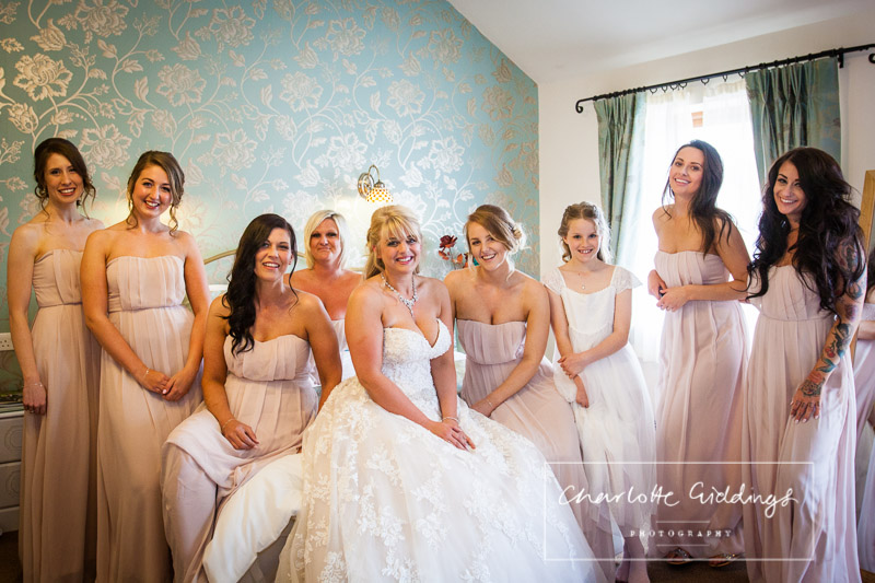bride and bridesmaids all together at heaton house farm - charlotte giddings photography
