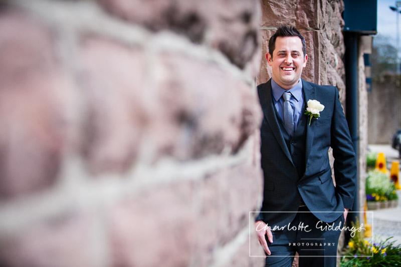 creative portrait of the groom heaton house farm wedding