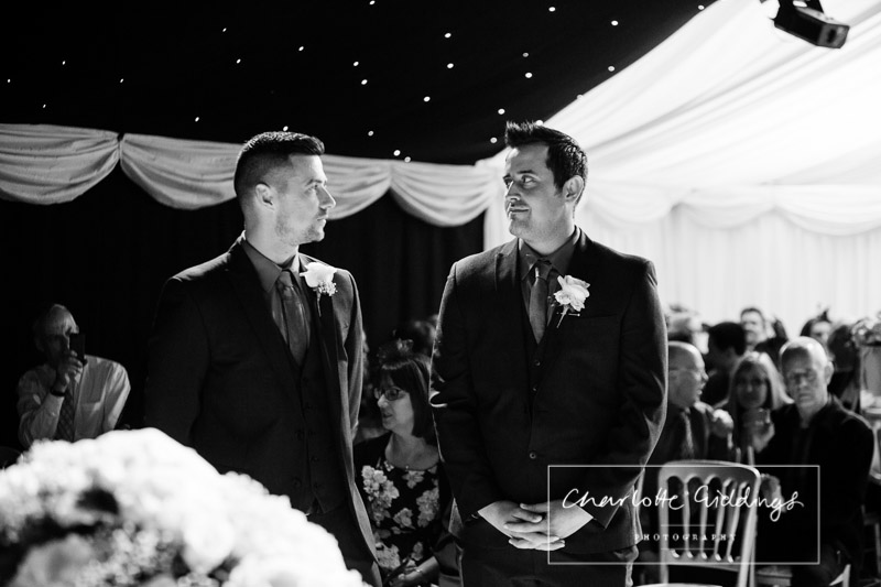 groom and best man black and white shot heaton house farm ceremony