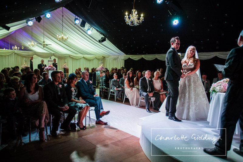 wide shot of the ceremony at heaton house farm