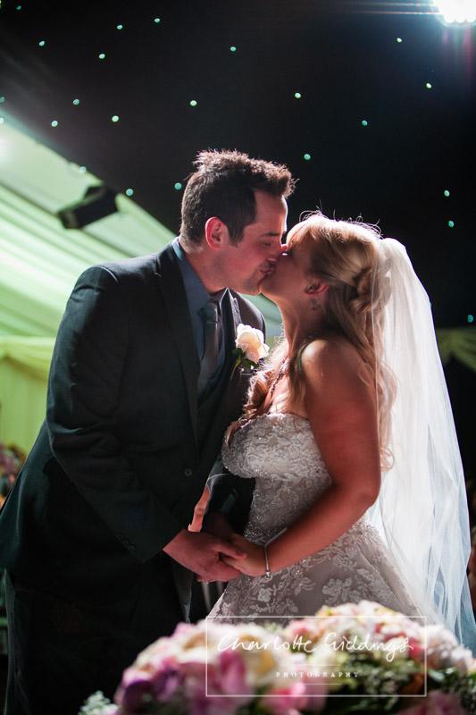 first kiss as mr and mrs - charlotte giddinsg photography