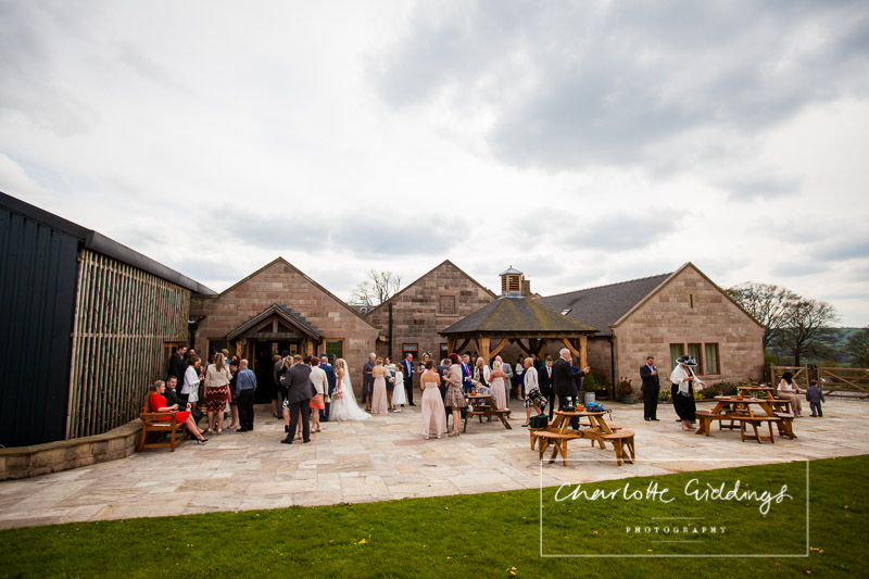 shot looking back at heaton house farm of the wedding commencing in may 2015