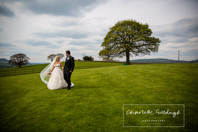 bride and groom walking hand in hand with the sycamore tree in the background - heaton house farm wedding photographer
