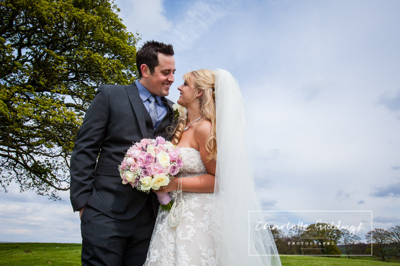 bride and groom in love - portrait looking at one another - shropshire wedding photographer