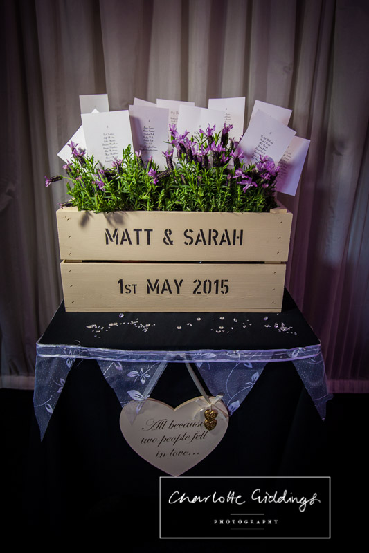 table plan idea with lavendar posts with table names pegged into buckets