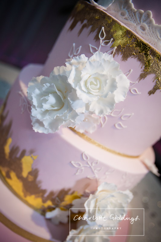detail shot of birdcage inspired wedding cake with pink, gold and white details