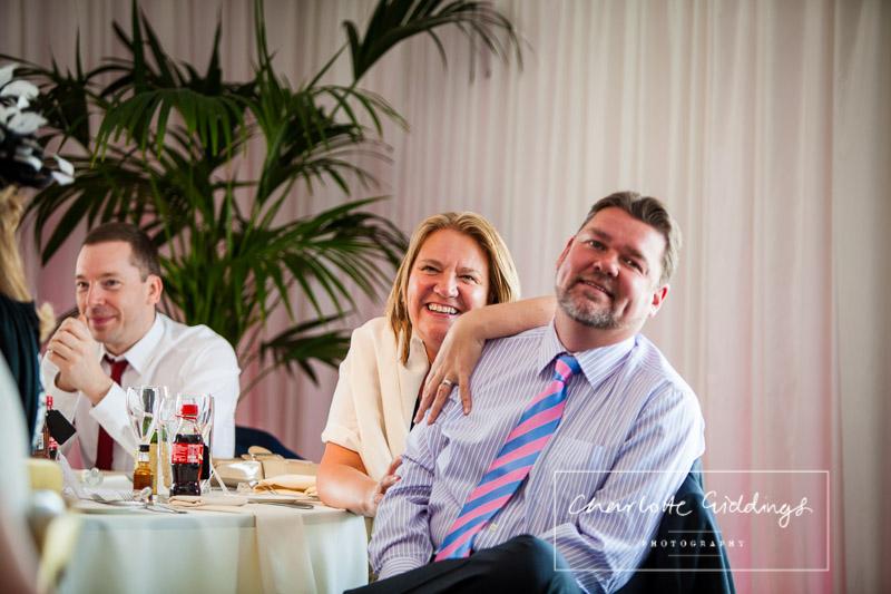 guests enjoying the speeches at heaton house farm wedding