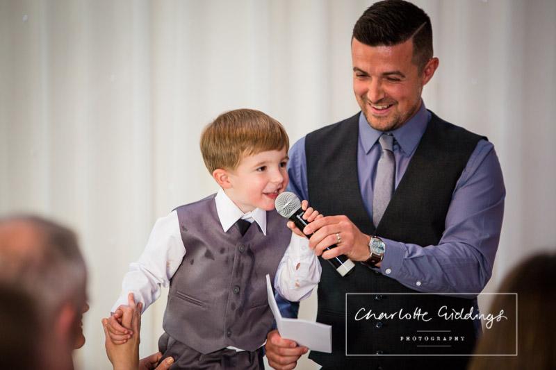 page boy making a speech at heaton house wedding