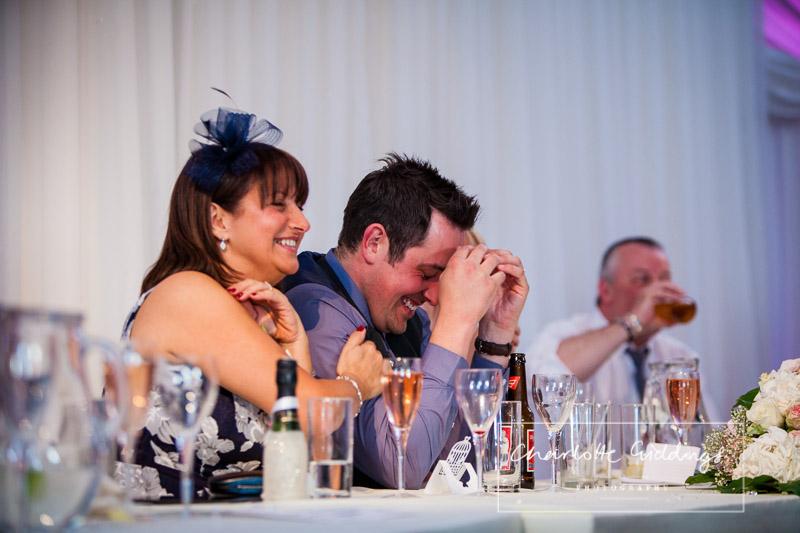 embarrassed groom from best man speech at heaton house farm wedding