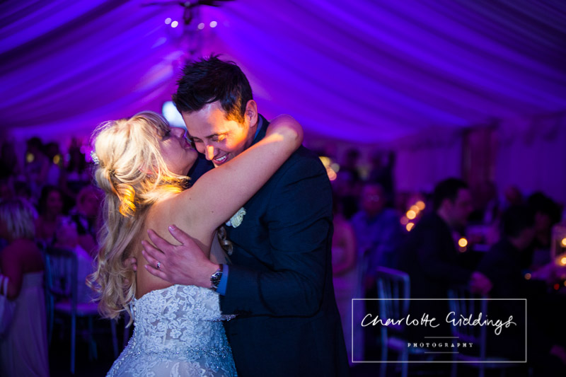 close up of the bride and groom during first dance at heaton house farm wedding