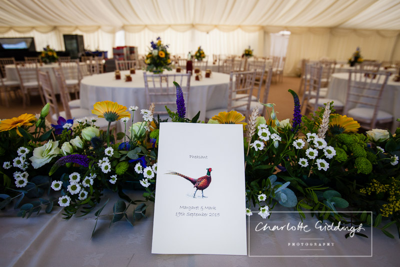 pheasant themed table names for marquee wedding - shropshire wedding photographer