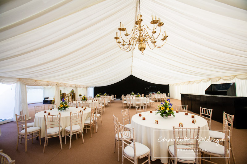 wide angle shot of the marquee wedding in the morning - shropshire wedding photographer