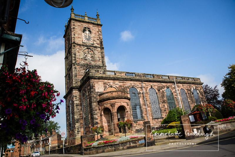 st.alkmunds church, whitchurch with beautiful blue sky - charlotte giddings photography