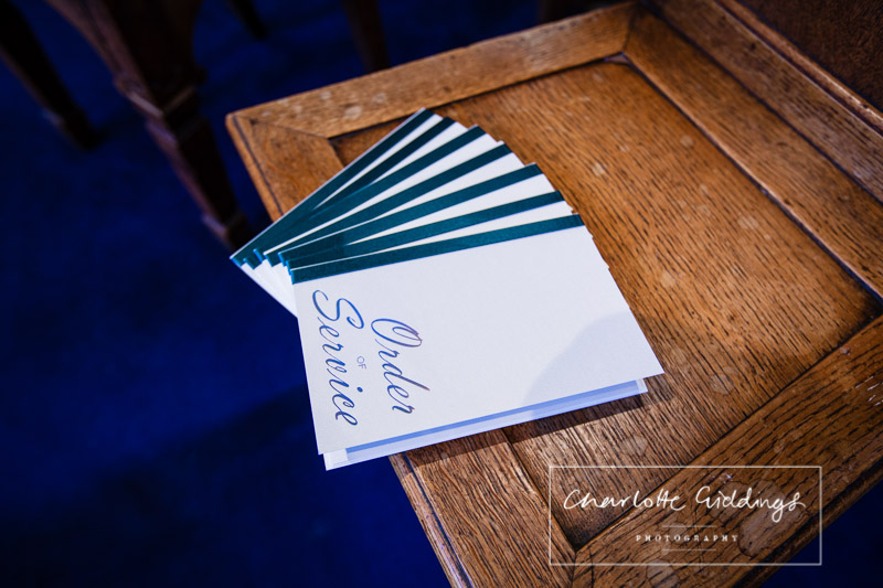 order of services on the side in church - with navy blue colour scheme