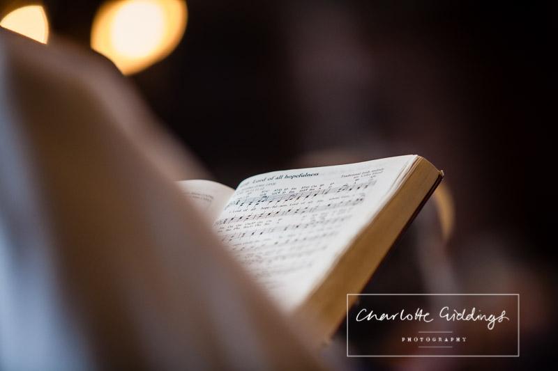 detail shot of the hymn book -wedding photographer shropshire