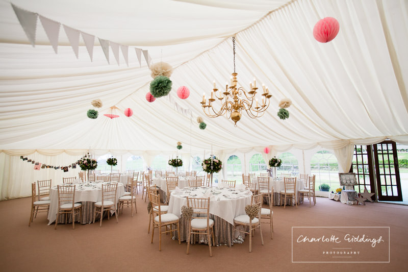 photo of marquee set up for marquee wedding, wales