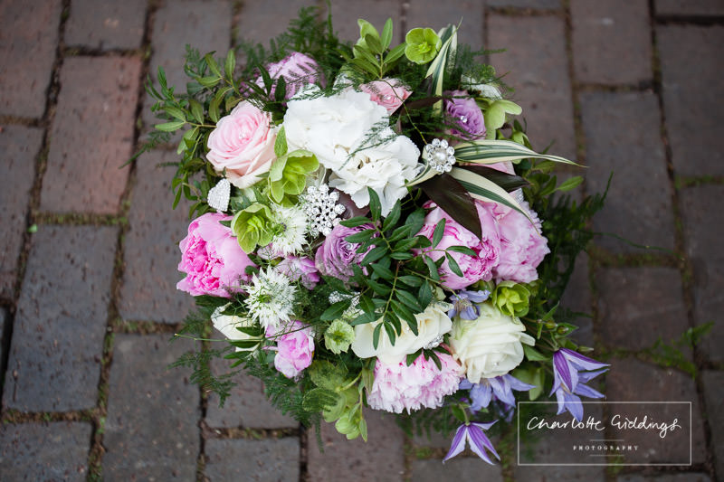 bbeautiful bouquet containing peonies, hydrangeas and roses - charlotte giddings photography