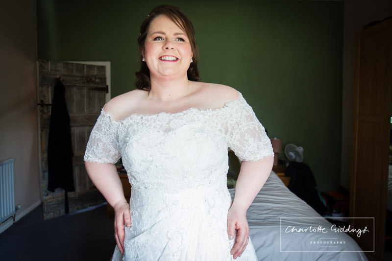 portrait of bride in her wedding dress in natural light - charlotte giddings photography