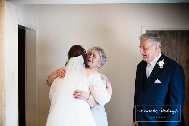 mother of the bride very emotional seeing the bride for the first time - wedding photographer shropshire