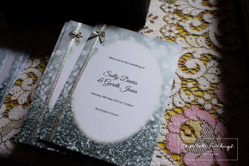handcrafted order of services for bronington church wedding