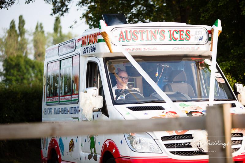 ice cream arriving at marquee wedding venue - shropshire wedding photographer