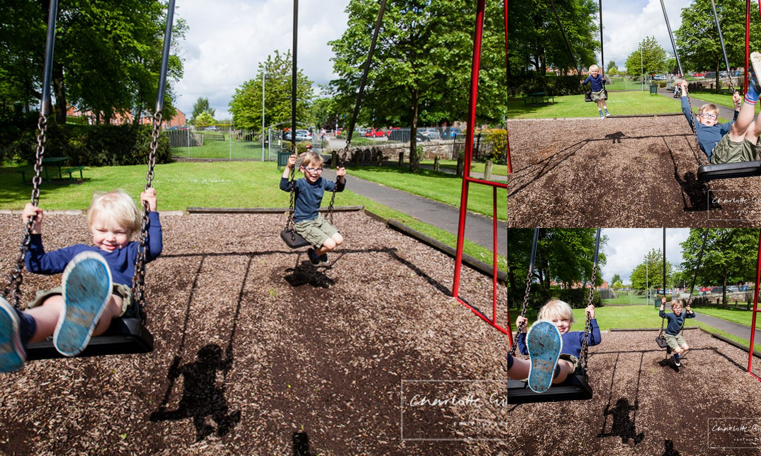 action shots of two brothers on the swings jubilee park whitchurch charlotte giddings photography