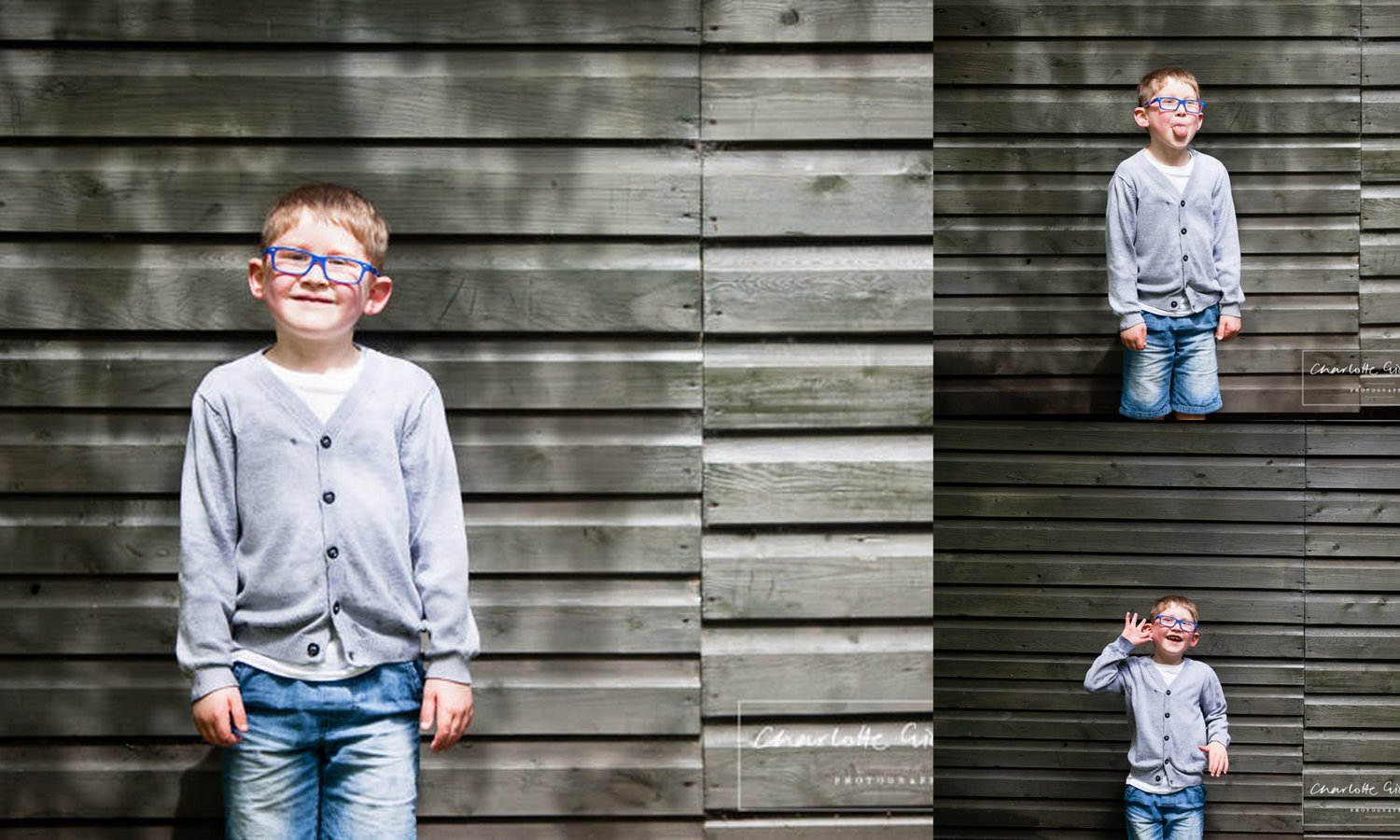 little boy with cool blue glasses standing against army green tin shed holding expressive faces and looking cool - charlotte giddings photography