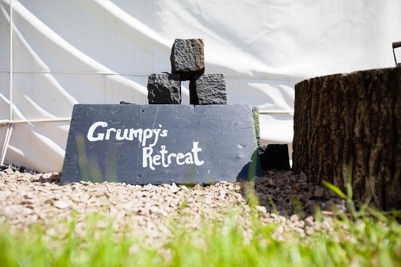 grumpy's retreat yurt signage