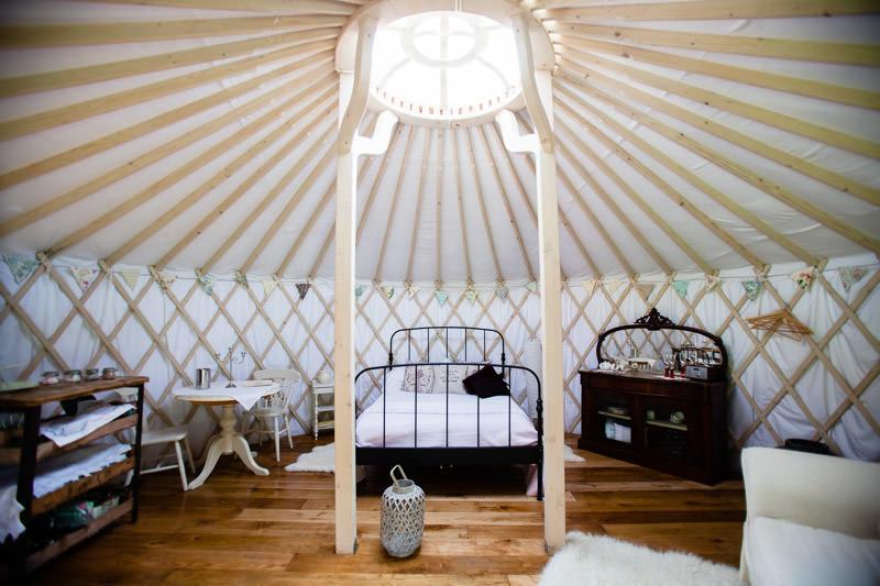 ineterior of GG's yurt vinatge theme