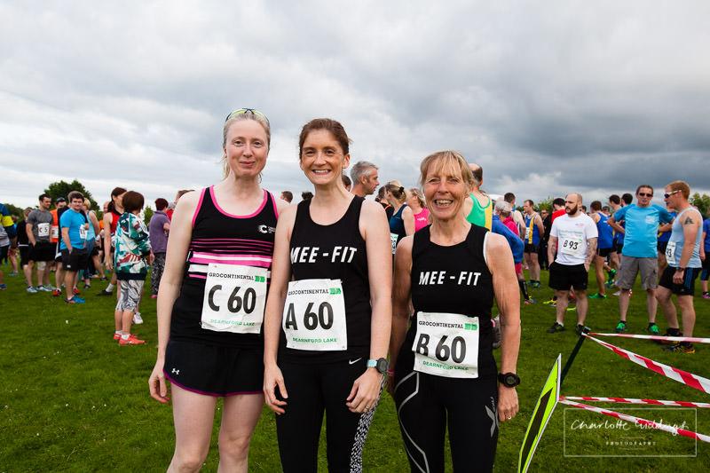mee-fit ladies team photo in their black club vests at dearnford lake relay 2016