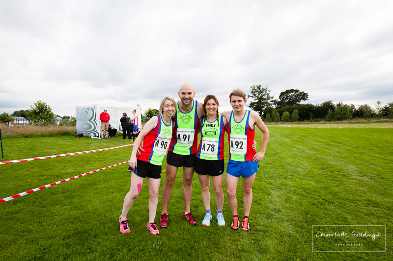 telford harriers mixed team photo in club kit before the dearnford relay event