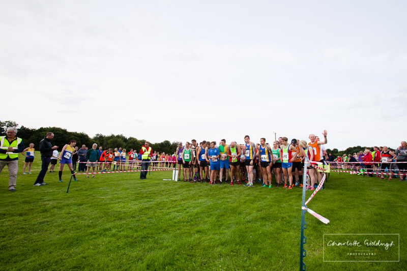 fastest runners all lined up at the start of the event at dearnford lake relay