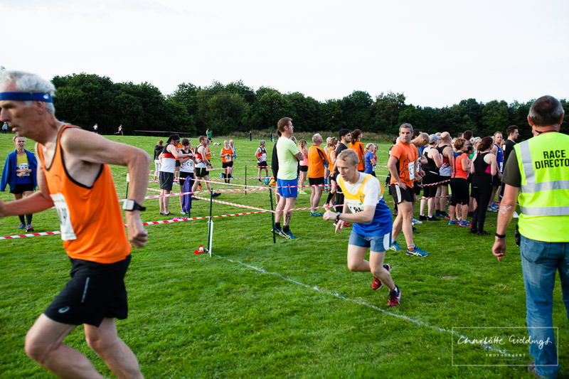 male runner just setting off in the exchange box at dearford lake running event