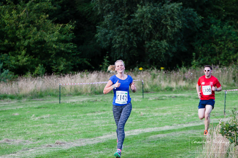 whitchurch runner giving the thumbs up -feeling good after nearly finishing the last leg of the event