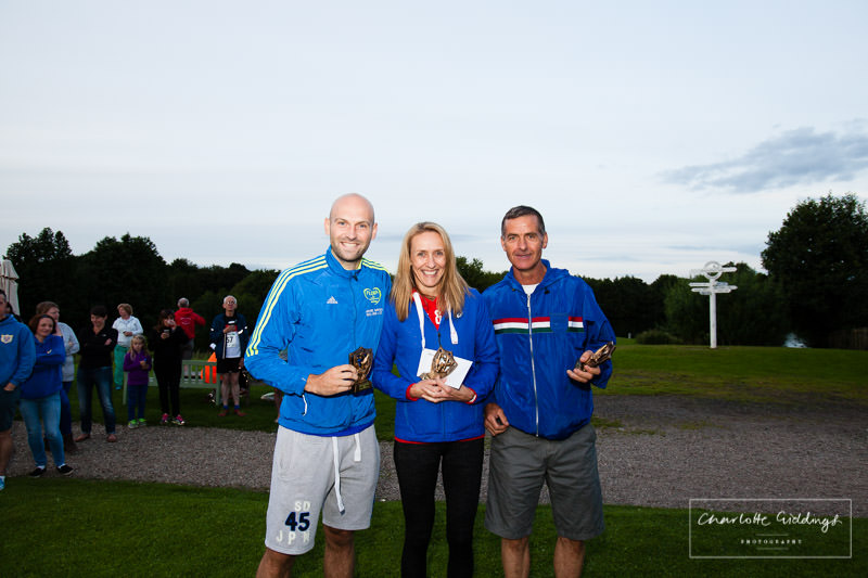 fastest mixed team at dearnford lake relay event 2016- winners with their trophies