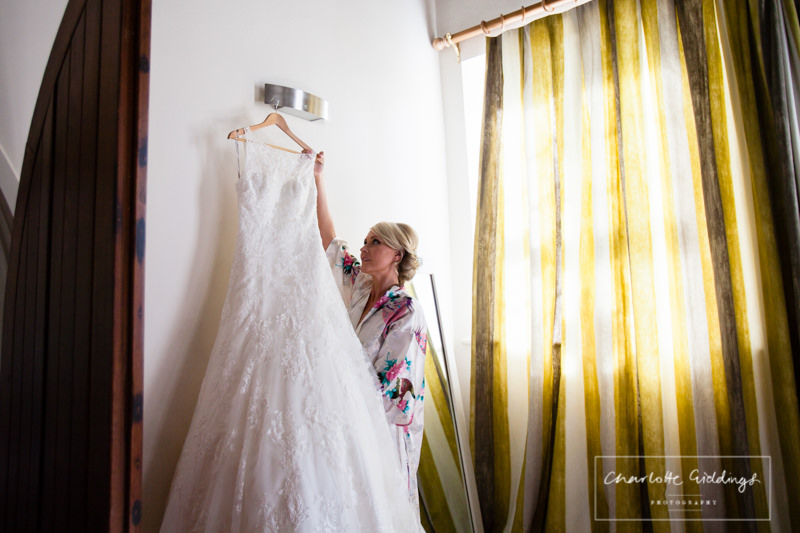 bride getting maggie sottero dress combermere abbey